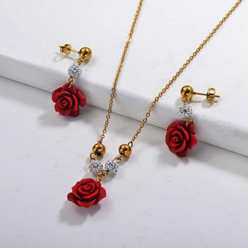 Conjuntos de collar de rosas con flores de acero inoxidable -SSCSG142-29620