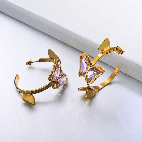 Pendientes Brazalete Mariposa de Acero Inoxidable -SSEGG142-29659