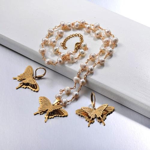 Conjuntos de collar de mariposa de acero inoxidable