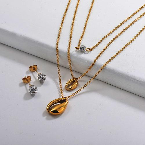 Conjuntos de collar multicapa de acero inoxidable -SSCSG142-29626