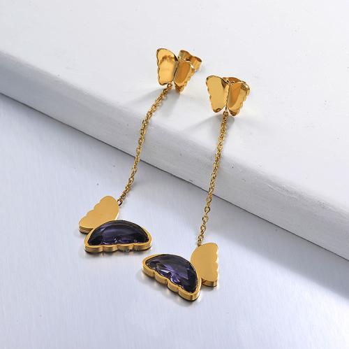 Pendientes Gota Mariposa de Acero Inoxidable -SSEGG142-29668