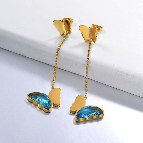 Pendientes Gota Mariposa de Acero Inoxidable -SSEGG142-29665