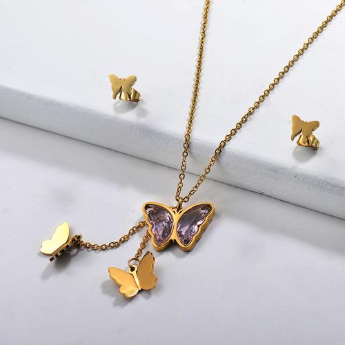 Conjuntos de collares multicapa de mariposa de acero inoxidable -SSCSG142-29569