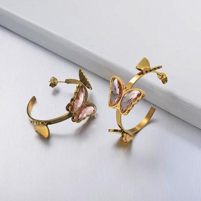 Stainless Steel Butterfly Cuff Earrings -SSEGG142-29660