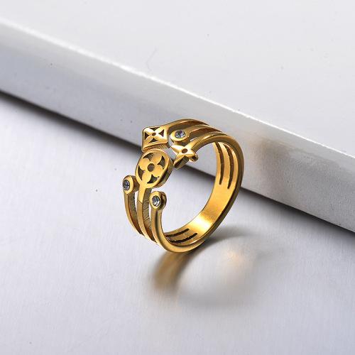 Patrón floral tridimensional con incrustaciones de pequeños diamantes Anillo de lujo ligero para mujer