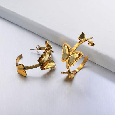 Pendientes Brazalete Mariposa de Acero Inoxidable -SSEGG142-29657
