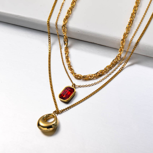 Stainless Steel Multilayered Red Crystal Necklace