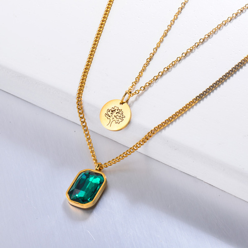 Green Crystal Family Tree of Life Multilayered Necklace