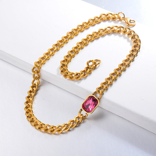 Hippop Style Hot Pink Crystal CHoker Necklace