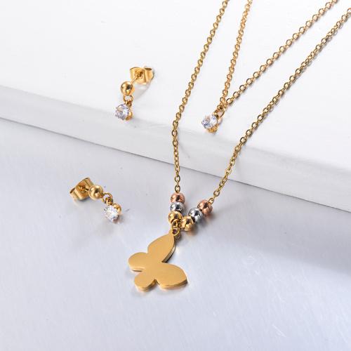 Conjuntos de collar de mariposa de acero inoxidable con aretes