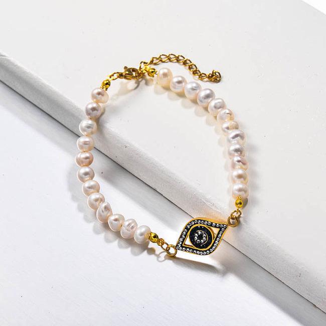 Fresh Water Pearl Evil Eye Charm Bracelets