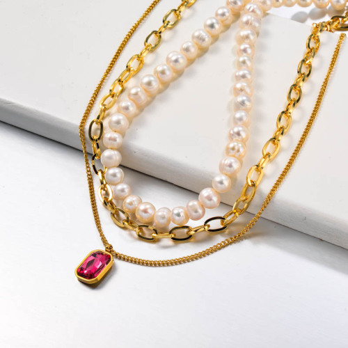 Fresh Water Pearl Multilayered Stainless Steel Necklace