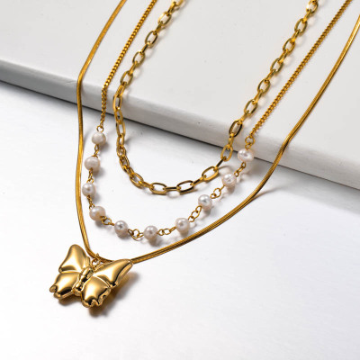 Fresh Water Pearl Multilayered Stainless Steel Butterfly Necklace