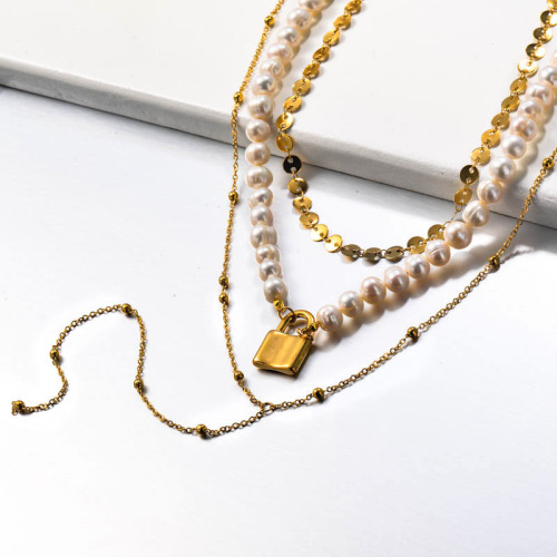 Fresh Water Pearl Stainless Steel Lock Multilayered Necklace