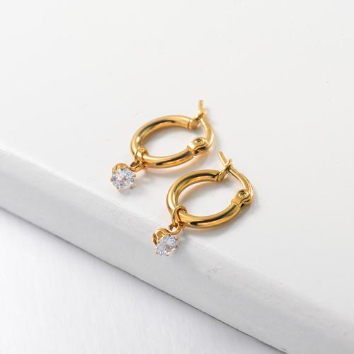 Zircon Huggie Drop Earrings