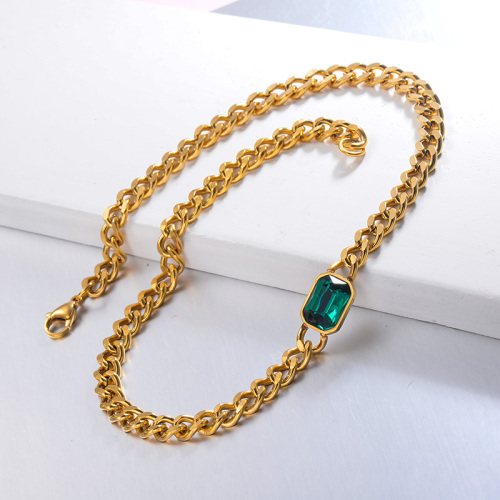 Hippop Style Green Crystal CHoker Necklace