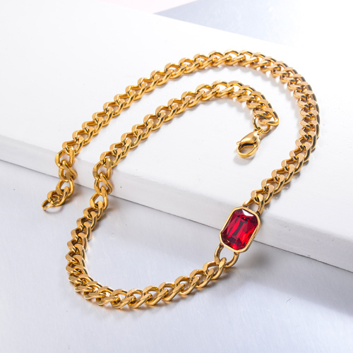 Hippop Style Red Crystal CHoker Necklace