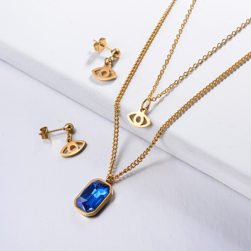 Stainless Steel Blue Crystal Multilayered Necklace Sets with Earrings