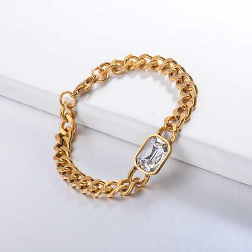 Hippop Style White Crystal Chain Bracelets