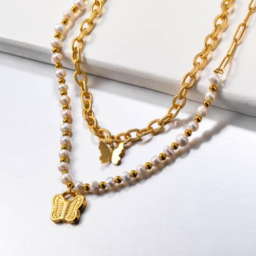 Collar de mariposa de acero inoxidable multicapa con perlas de agua dulce