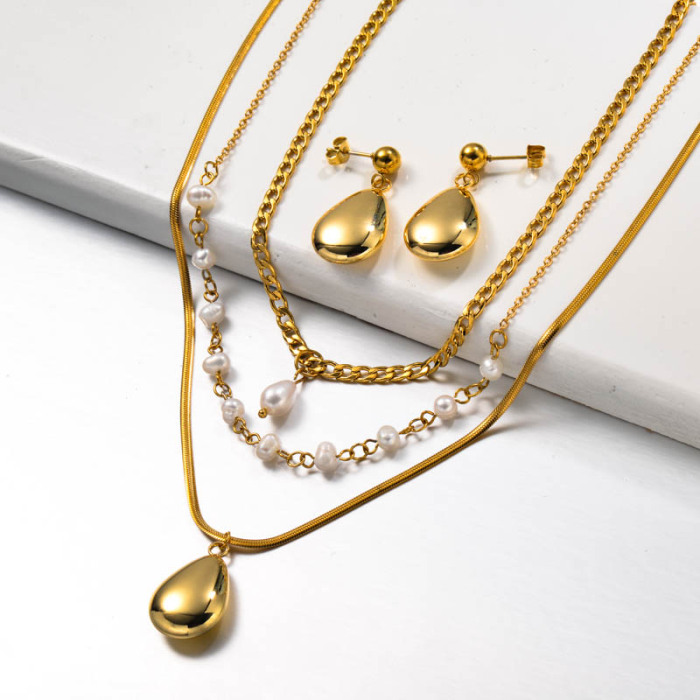 Fresh Water Pearl Multilayered Stainless Steel Necklace set
