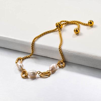 Stainless Steel Fresh Water Pearl Bracelets