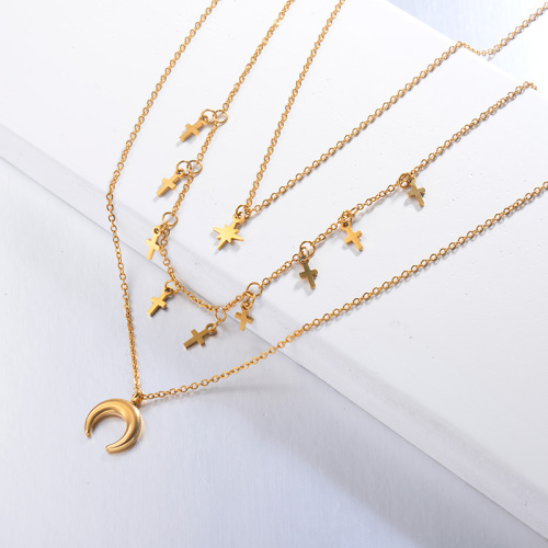 Layer Cross Necklace