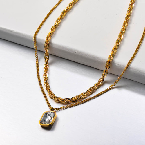 Stainless Steel Multilayered Crystal Necklace