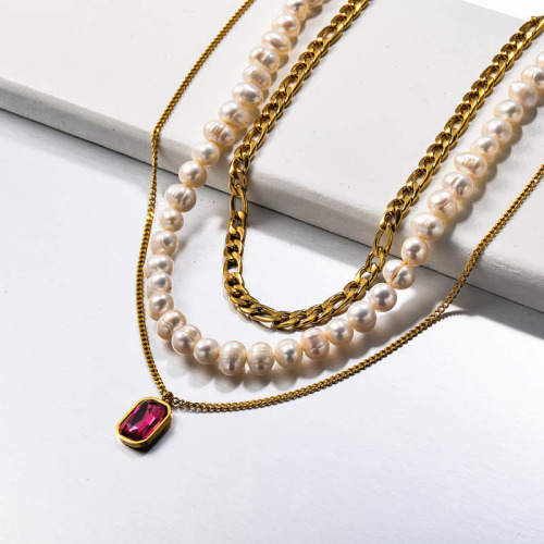 Fresh Water Pearl Stainless Steel Multilayered Necklace