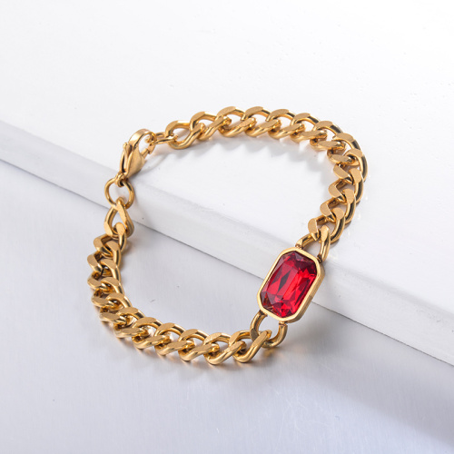 Pulseras de cadena de cristal rojo estilo hippop