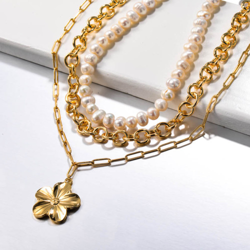 Fresh Water Pearl Multilayered Flower Stainless Steel Necklace