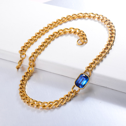 Hippop Style Blue Crystal CHoker Necklace
