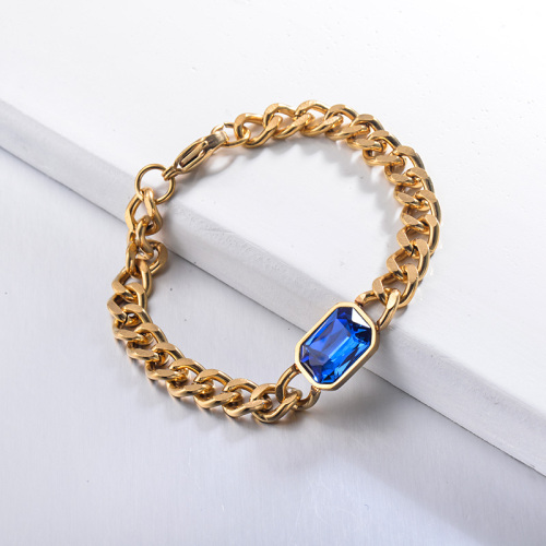 Pulseras de cadena de cristal azul estilo hippop