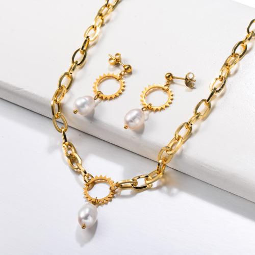 Conjuntos de joyas de perlas de agua dulce de acero inoxidable