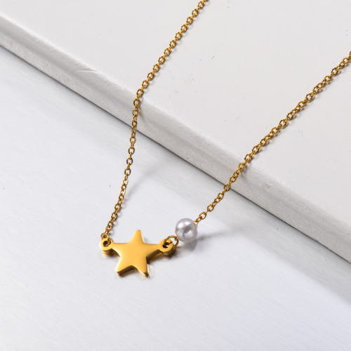 Stainless Steel Pearl Star Pendant Necklace