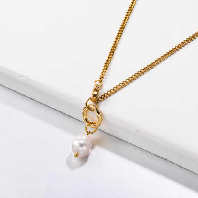 Stainless Steel Pearl Necklace