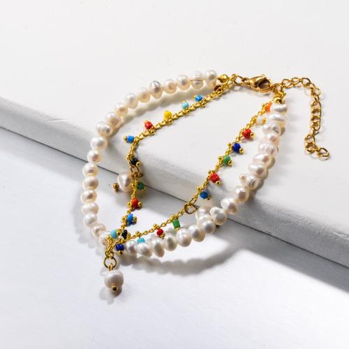 Pulseras de doble capa de perlas de agua dulce