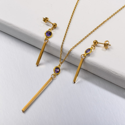 Stainless Steel CZ Necklace Jewelry Sets