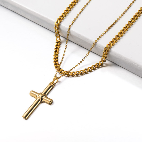 Stainless Steel Double layered Cross Pendant Necklace