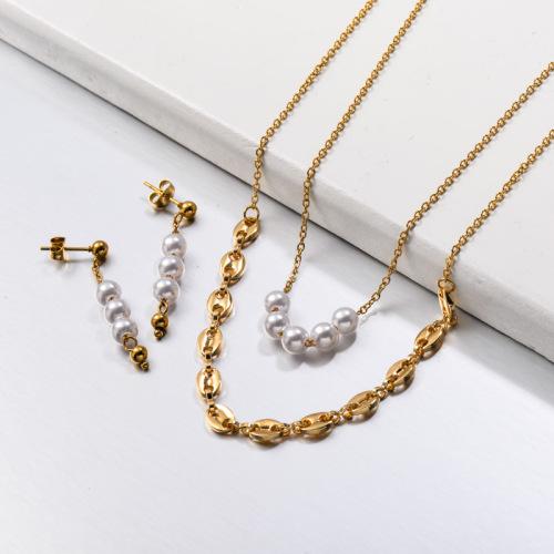 Collar de perlas de vidrio de acero inoxidable