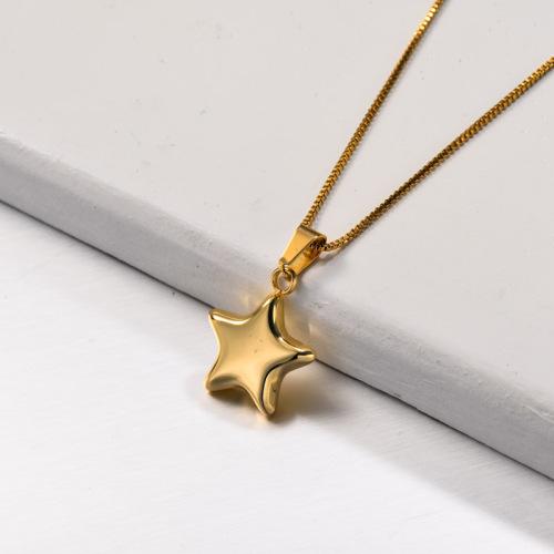 Collar con colgante de estrella de doble capa de acero inoxidable