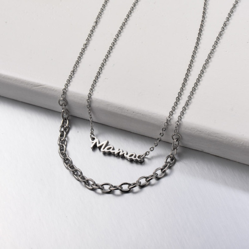 Stainless Steel Mama Multi Layered Necklace