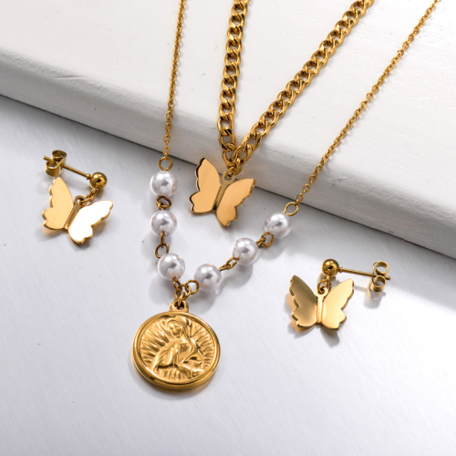 Stainless Steel Double Layered Butterfly Coin Jewelry Sets
