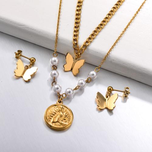 Conjuntos de joyas de monedas de mariposa de doble capa de acero inoxidable