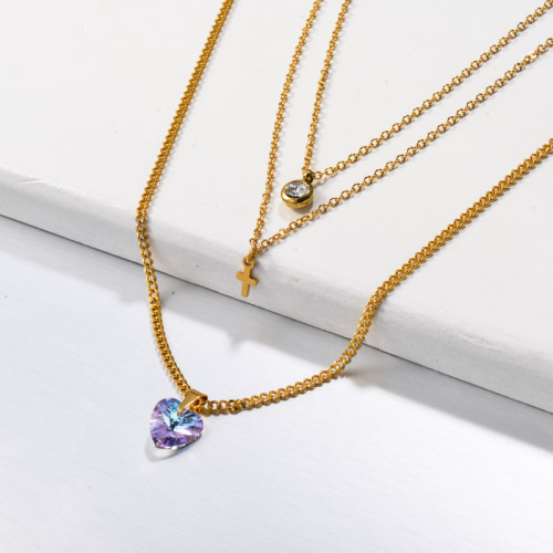 Stainless Steel Crystal Heart Layered Necklace