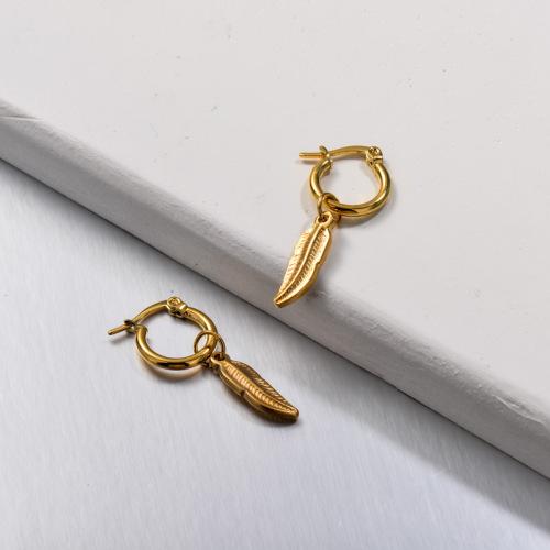 Stainless Steel Leaf Drop Earrings