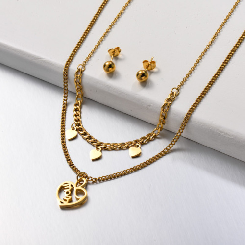 Stainless Steel Heart Mom Double Layered Jewelry Sets