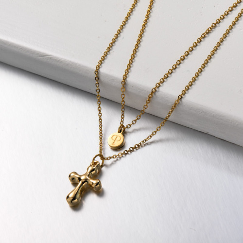 Stainless Steel Cross Layered Necklace
