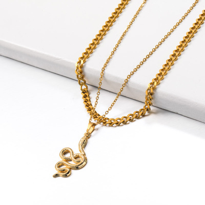 Stainless Steel Double layered Snake Pendant Necklace