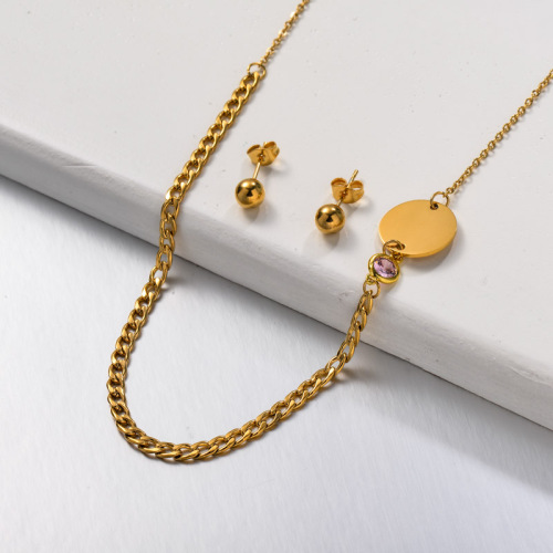 Stainless Steel Zircon Disc Jewelry Sets